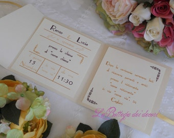 Vintage participation by invitation and envelope effect metallic/Pearl, handmade