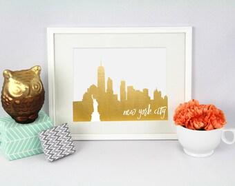 Mannhattan Foil Prints // New York City // NYC // City Silhouettes // Foil Prints // Cityscape Foil Prints // New York City Foil Prints