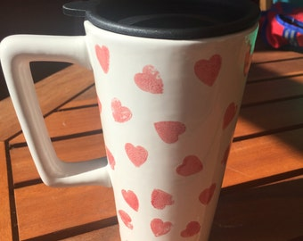 Ceramic travel mug hand decorated with red love hearts, pottery 9th wedding anniversary