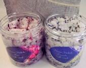 Rose and Lavender Salt Scrubs - dried rose - dried lavender - organic salt scrub - dry skin relief