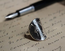 RING curved Piece of currency - 1 franc cash - corner RING silver - France