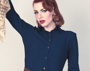 Long sleeves petrol blue blouse, classic style