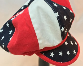 Red white and blue newsboy cap