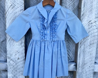 Girls 5 Glen of Michigan Dress with Ruffle Front / Vintage 1960's Baby Blue