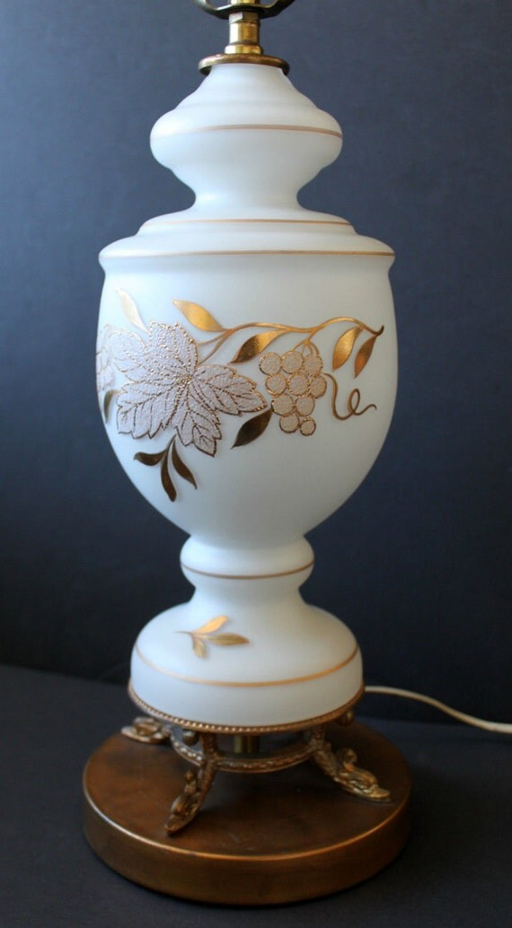 Venetian Lamp White Gold Hand Painted Glass Vintage Table Lamp