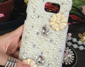 Bling Pearls Kawaii Girly Floral Gems Crystals Rhinestones Diamonds Fashion Lovely Girly Flowers Fashion Hard Cover Case for Mobile Phones
