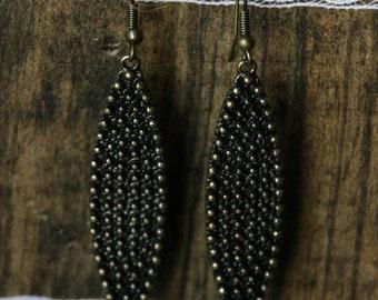 Antique Bronze Long Oval Earrings