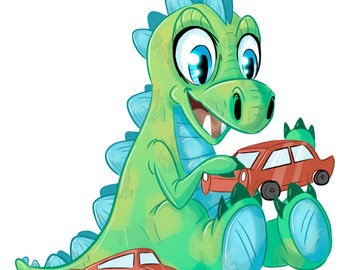 Cute Dinosaur A4 Print