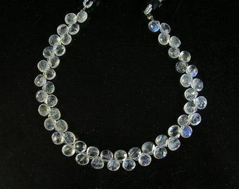 """RAINBOW MOONSTONE faceted heart beads AAA 5.5-6mm 7"""" strand"""