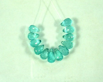 Apatite faceted drop briolette beads AAA 6.5-7.5mm 12pcs