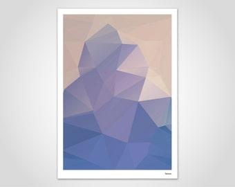 Iceland - modern poster, abstract art prints, modern wall art prints, low poly, Polygram, jute bag, Cup, minimalist geometry