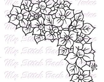 Digital stamp colouring image - flower bunch . jpeg / png