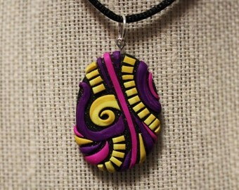 Pink Yellow and Purple Polymer Clay Necklace Pendant