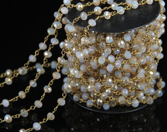10 Feet/lot Opal Crystal Glass Faceted Rondelle Beaded Chains,Rosary Style Plated Gold Wire Wrapped Link Gems Chain Necklace Findings