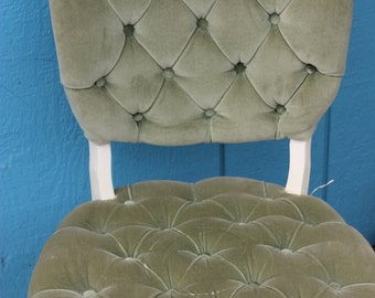 SOLD!!! Vintage Velvet Moss Green Chair w Brass Tacks and curved legs