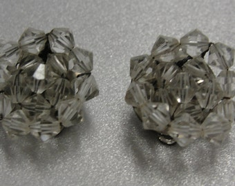 Clear Glass Beaded Round Clip Earrings