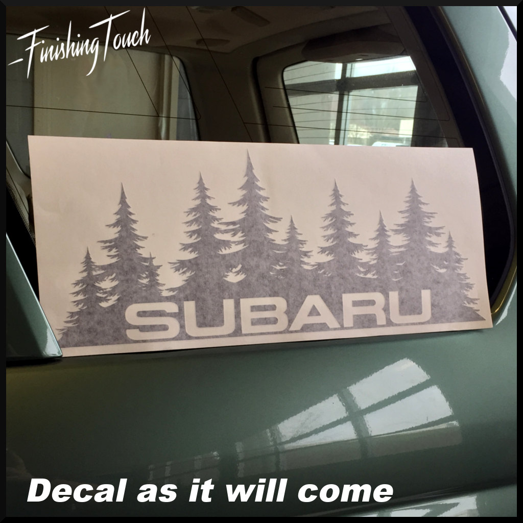 Subaru Decal Custom Vinyl Forest Silhouette Graphic Door Or