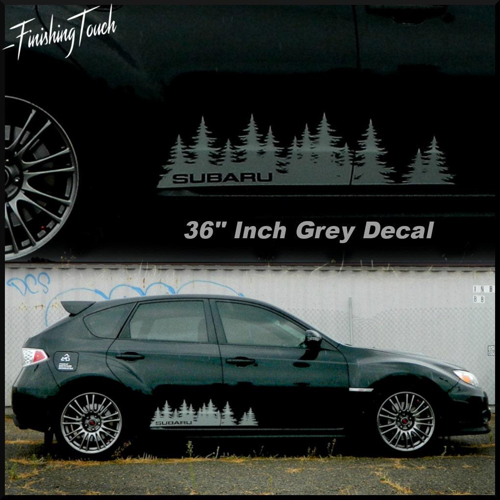 Subaru Tree Forest Die Cut Vinyl Door Sticker PNW Northwest - Custom vinyl decals for car doors