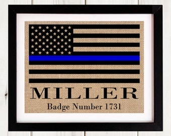 Thin Blue  Line Gift with Badge Number, Police Officer Retirement Gift