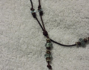 2MM Brown Adjustable Lariat Style Necklace w/Beads