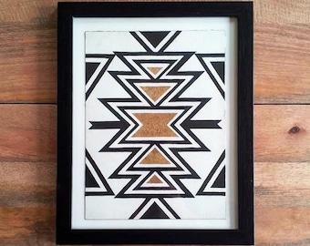 Original Navajo Pattern Gold Leaf Painting Wall Decor Art