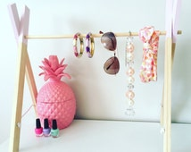 Wooden display stand accessory rack handmade