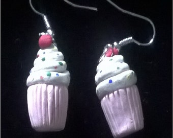 Cupcake earrings handmade pink with sprinkles and cherry on top polimer clay