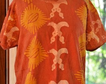 Adinkra orange T-shirt-African- Handmade batik t-shirt-Tribal Orange batik t-shirt