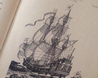 Marine Boat History Book 'Bateaux et Marins' published 1946 /Boat Ship Marine Illustrations/Vintage Hard Cover Design/Coffee Table Book