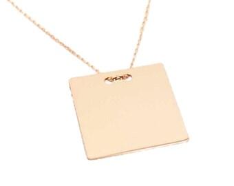 Silver square pendant necklace (long chains)