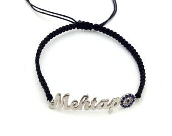 Silver name, macrame bracelet with evil eye detail