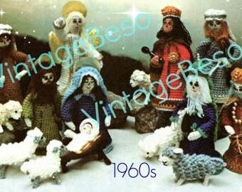 Nativity Crochet PATTERN Vintage 1960s Virgin Mary Baby Jesus Joseph Angels Three Kings Creche Pattern Instant Download PDF Pattern