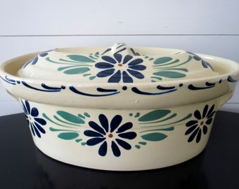 French Pottery Casserole Dish - Soufflenheim Baking Dish with Lid, Vintage French Pottery Dutch Oven, Hand Painted, French Country Pottery
