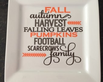 Fall Harvest Subway Art Decorative Square Plate-Falling Leaves-Pumpkins-