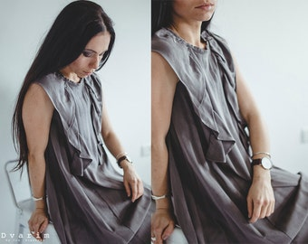 Grey Viscose Midi Dress/ Women Clothing/