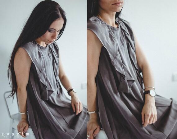 Grey Viscose Midi Dress/ Women Clothing/