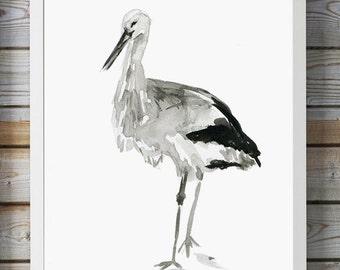 Stork watercolor Painting - ink drawing - Giclee print - Zen art -Stork Art - Black ink - Animal Painting Stork Watercolour - Aquarelle bird