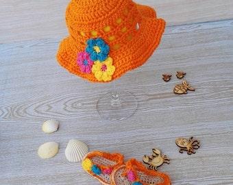 Summer crochet hat and matching girls thong sandals