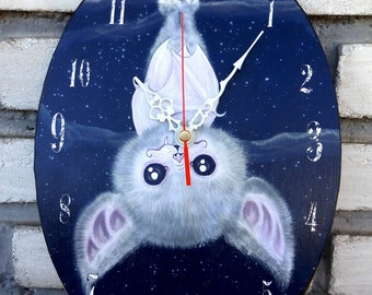 Oval wall clock: Deranged Cute Bat. Handmade clock. Gothic cute and whimsical decoration.