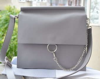 Leather handbag, leather tote, italian leather bag, gray leather handbag, Leather handbag, crossbody bag