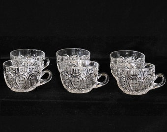 Heisey Set of 6 Antique Pressed Glass Punch Cup in the Fancy Loop pattern