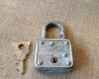 Mini Master Lock Vintage Padlock with Key