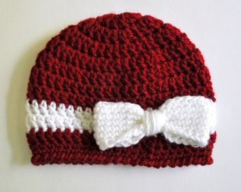 Crochet Baby Bow and Ribbon Hat