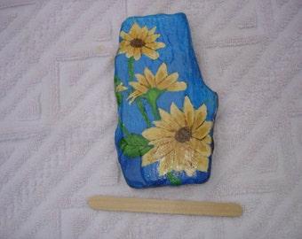 Sunflower rock painting