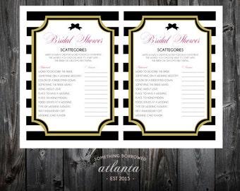 Kate Spade Bridal Shower Printable Game Scattegories Instant Download Pink Black White Stripes Bows Fun
