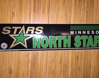 Vintage Minnesota North Stars Bumper Sticker 90s deadstock NHL Hockey rare defunct team