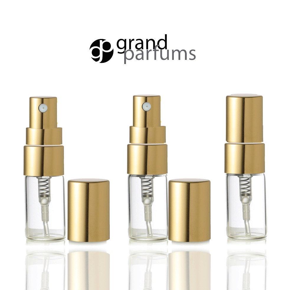 Perfume Refill Kenya: 24 Clear Glass 3ml Fine Mist Atomizer Bottles 3 Ml W/ Gold Metallic Spray Mist Caps Perfume