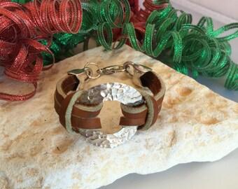 Handmade hammered sterling silver & leather bracelet