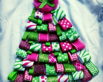 Christmas Tree Ribbon Onesie and shirts
