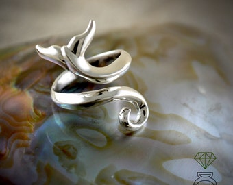 Whale Tail Ring,Sterling Silver Ring, Silver Ring, Adjustable ring
